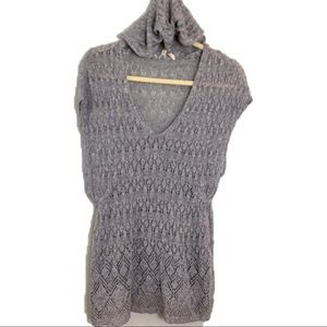 Moth hooded heather gray loose knit pullover S